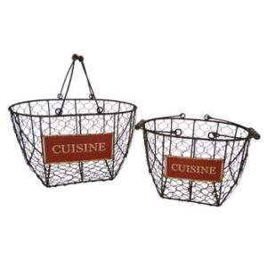 Set 2 coșuri din metal Antic Line Cuisine Basket