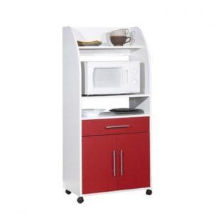 Sistem depozitare pe roți pentru bucătărie, cu rafturi Symbiosis Jeanne, roşu - alb