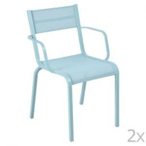 Set 2 scaune de grădină Fermob Oléron Arms, albastru deschis