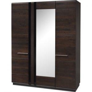 Șifonier cu 3 uși și o oglindă Szynaka Meble Porti Dark Chocolate