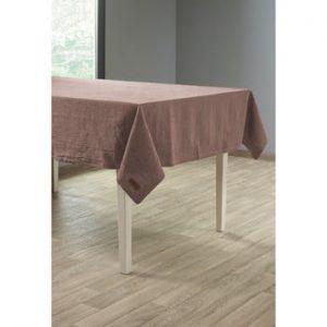 Față de masă cu adaos de in Tiseco Home Studio, 135 x 240 cm, maro gri