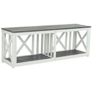 Bancă pentru grădină din lemn de acacia Safavieh Branco Grey, alb - gri