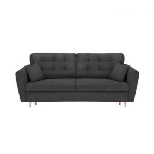 Canapea extensibilă cu 3 locuri și spațiu pentru depozitare Cosmopolitan Design Grenoble, gri închis