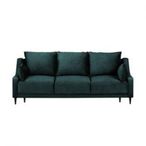 Canapea extensibilă cu 3 locuri Mazzini Sofas Freesia, albastru verde