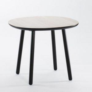 Masă dining din lemn masiv EMKO Naïve, ø 90 cm, alb - negru