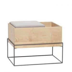 Bancă din lemn de stejar și metal cu pernă Hubsch Bench