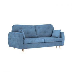 Canapea extensibilă cu 3 locuri și spațiu pentru depozitare Kooko Home Viola, albastru