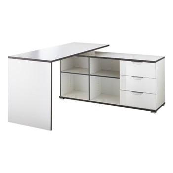 Birou cu masă auxiliară și sertare Germania X, alb