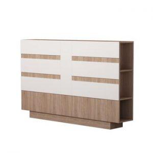 Tăblie pentru pat cu spațiu pentru depozitare Homitis Eddo, detalii albe