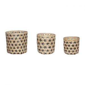 Set 3 coșuri depozitare din bambus Hübsch Bamboo