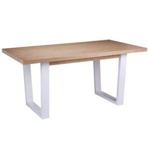 Masă cu elemente de decor din lemn de stejar și picioare albe sømcasa Amber, 160 x 90 cm