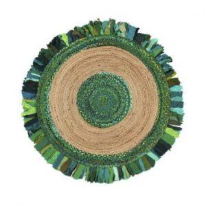 Covor din iută și bumbac Eco Rugs Verde, Ø120cm
