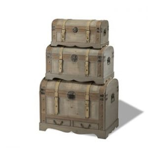 Set 3 cutii din lemn decorative Knuds Trunks Countryside