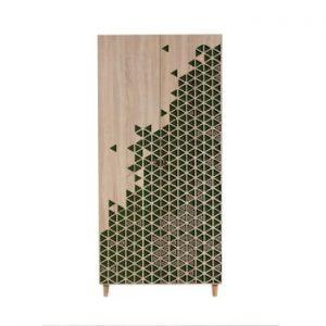 Dulap cu 2 uși Stil Geometry Green, 90 x 192 cm