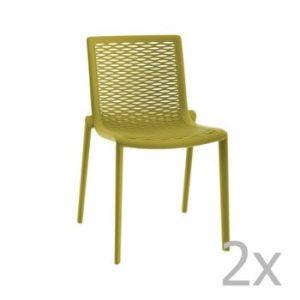 Set 2 scaune de grădină Resol Net-Kat, verde
