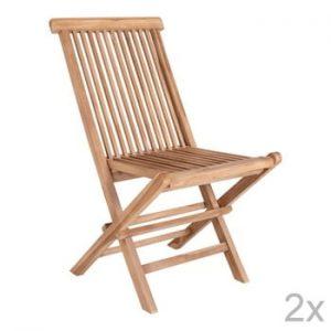 Set 2 scaune din lemn de tec, potrivite pentru exterior House Nordic Toledo