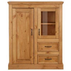 Dulap din lemn de pin cu 2 uși și 2 sertare Støraa Suzie, maro
