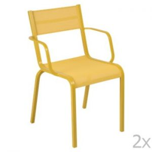 Set 2 scaune de grădină Fermob Oléron Arms, galben