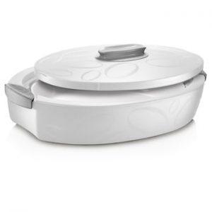 Cutie termică ovală cu vas de coacere Enjoy, 4 l, alb