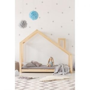 Cadru pat din lemn de pin, în formă de căsuță Adeko Mila DMS, 70 x 140 cm