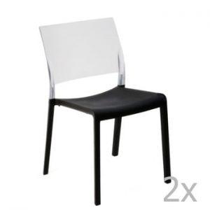 Set 2 scaune de grădină Resol Fiona, negru - alb