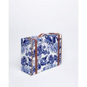 Cutie de depozitare Surdic Valise Blue Flowers, 31 x 40 cm