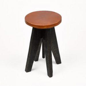 Scaun cu șezut din piele Simla Round, negru