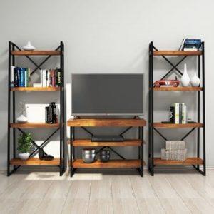 Set comodă TV și etajere din lemn de pin Egzotik Walnut