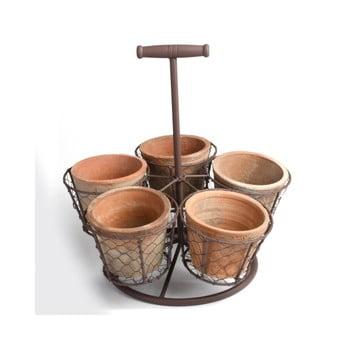 Set 5 ghivece din teracotă cu suport Esschert Design