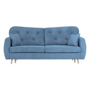 Canapea extensibilă cu 3 locuri și spațiu pentru depozitare Mazzini Sofas Orchid, albastru