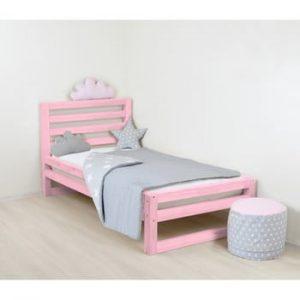 Pat din lemn pentru copii Benlemi DeLuxe, 160x70cm, roz