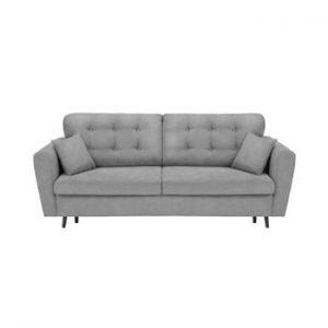Canapea extensibilă cu 3 locuri și spațiu pentru depozitare Cosmopolitan Design Lyon, gri