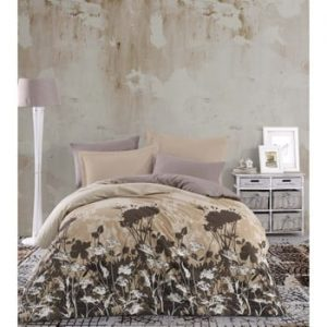 Lenjerie de pat cu cearşaf din bumbac Vera, 200 x 220 cm