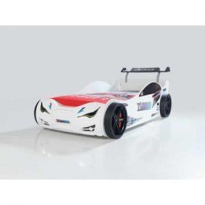 Pat în formă de automobil cu lumini LED pentru copii Eko, 90 x 190 cm, alb