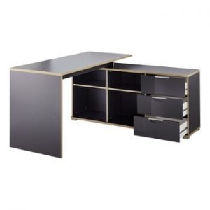 Birou cu masă auxiliară și sertare Germania X, negru