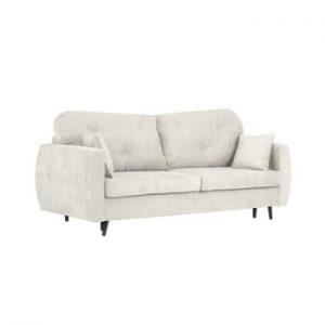 Canapea extensibilă cu 3 locuri și spațiu pentru depozitare Kooko Home Bluzz, gri deschis