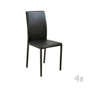 Set 4 scaune cu tapițerie din piele eco Evergreen House Villy, negru