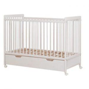 Pătuț pentru copii din lemn de pin BELLAMY Neo,60x120cm, alb