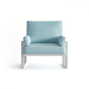 Fotoliu pentru exterior cu cotiere și margini albe Marie Claire Home Angie, albastru deschis