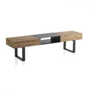 Comodă TV din lemn cu picioare metalice Geese Robust, 180 x 40 cm