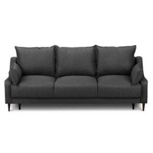 Canapea extensibilă cu 3 locuri și spațiu pentru depozitare Mazzini Sofas Ancolie, gri închis