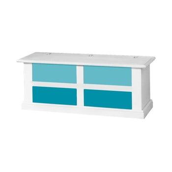 Cufăr cu sertare albastre Evergreen House Chest, alb