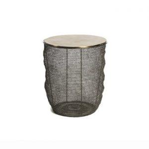 Masă cu blat din aluminiu în culoarea aurie Simla Round, ⌀46cm