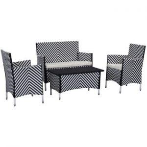 Set de mobilier pentru grădină Safavieh Venice, negru - alb