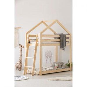 Cadru pat supraetajat din lemn de pin, în formă de căsuță Adeko Mila DMPB, 70 x 140 cm