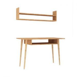 Set birou și raft cu aspect de lemn de stejar Mutty