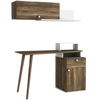 Set birou și poliță perete în decor de lemn de nuc Ratto Athos