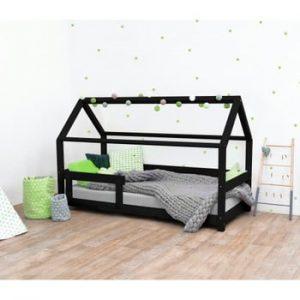 Pat pentru copii, din lemn de molid cu bariere de protecție laterale Benlemi Tery, 120 x 200 cm, negru