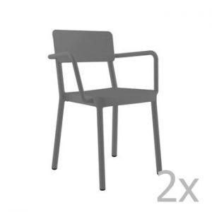 Set 2 scaune de grădină Resol Lisboa, gri închis