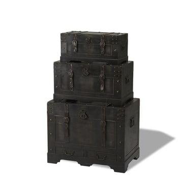 Set 3 cutii din lemn decorative Furnhouse Trunks Straight